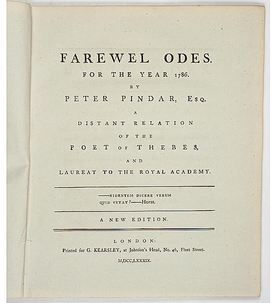 Farewel Odes for the Year 1786: